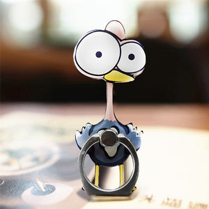 Cell Phone Finger Ring Holder Cute Animal 360 Swivel Smartphone Stand (Ostrich)