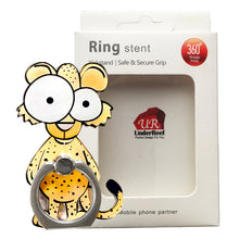 Load image into Gallery viewer, Cell Phone Finger Ring Holder Cute Animal 360 Swivel Smartphone Stand (Leopard)