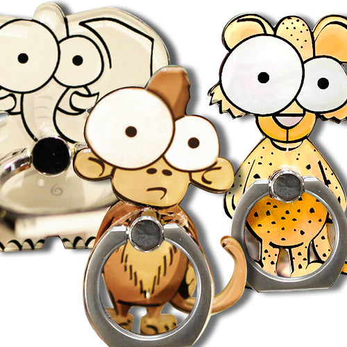 Cell Phone Finger Ring Holder Cute Animal 360 Swivel Smartphone Stand (3 Packs A)