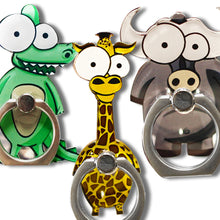 Load image into Gallery viewer, Cell Phone Finger Ring Holder Cute Animal 360 Swivel Smartphone Stand (3 Packs B)