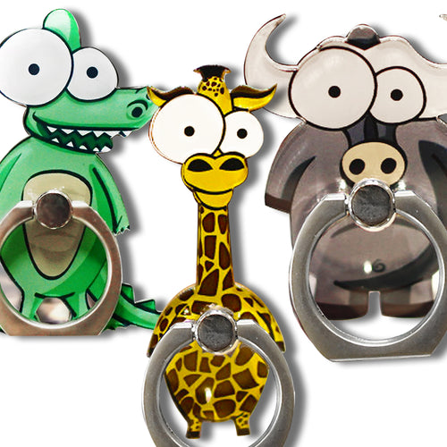 Cell Phone Finger Ring Holder Cute Animal 360 Swivel Smartphone Stand (3 Packs B)