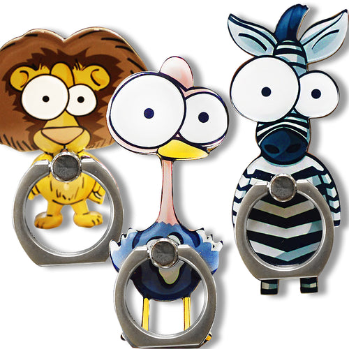 Cell Phone Finger Ring Holder Cute Animal 360 Swivel Smartphone Stand (3 Packs C)