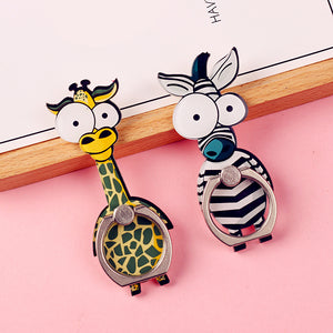 Cell Phone Finger Ring Holder Cute Animal 360 Swivel Smartphone Stand (Giraffe)