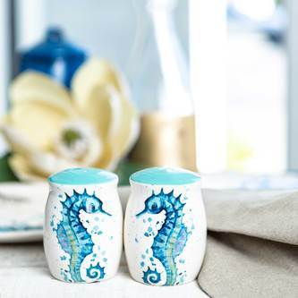 adorable teal and cream-colored seahorse salt and pepper shakers