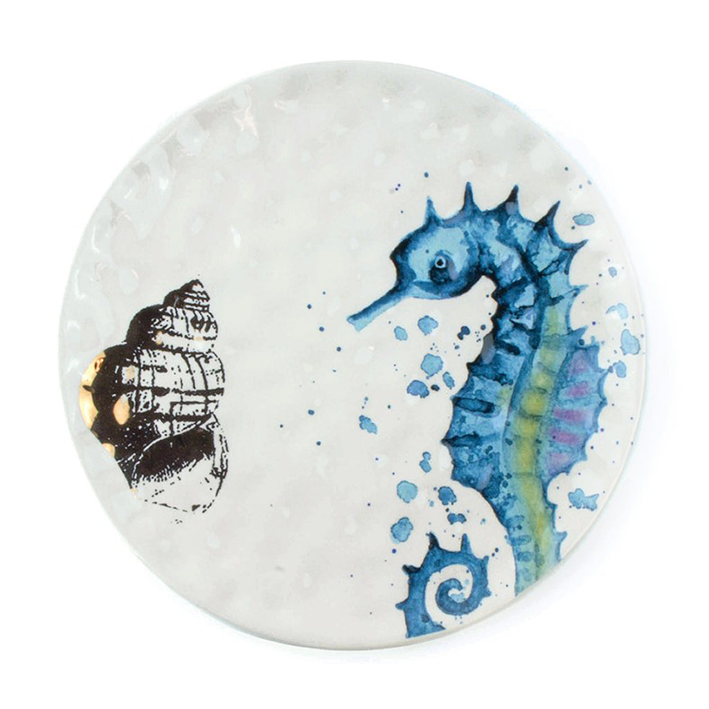 "8"" decorative seahorse plate with gold shell"