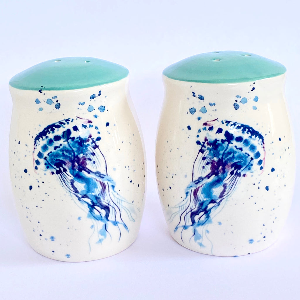 cute salt and pepper shaker set - teal and cream with blue watercolor painted jellyfish