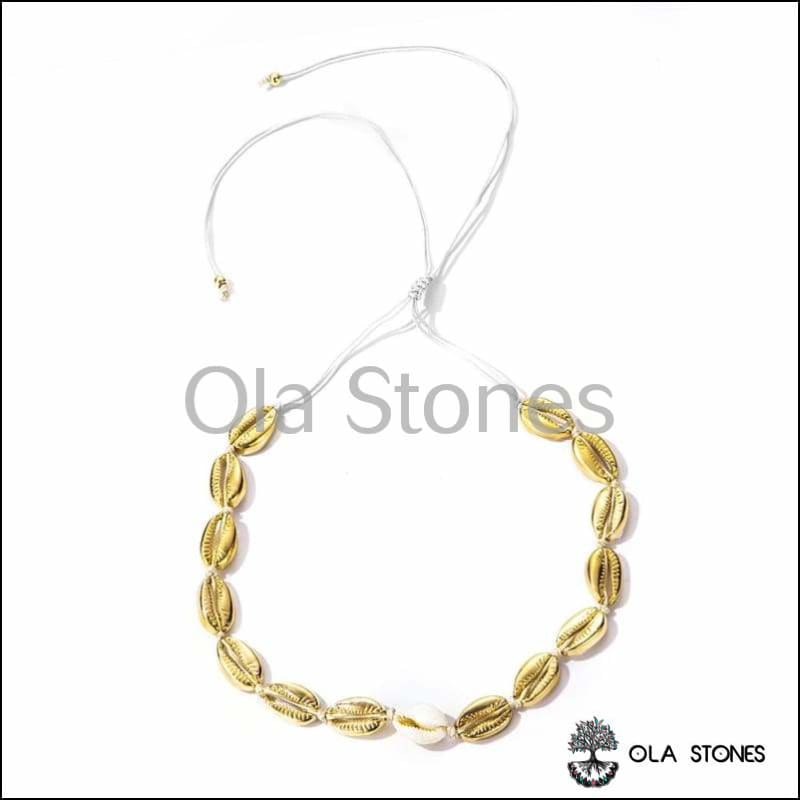 Collier Coquillage couleur Or - Ola Stones