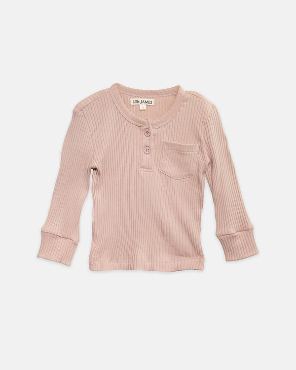 JAXON RIBBED HENLEY - BLUSH