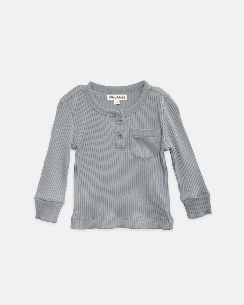 JAXON RIBBED HENLEY - GREY