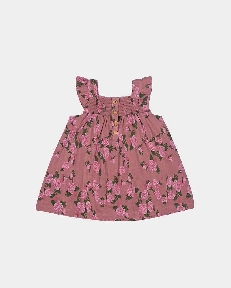 TEA TIME SMOCK DRESS - ROSE FLORAL