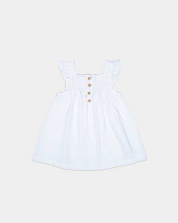 TEA TIME SMOCK DRESS - WHITE