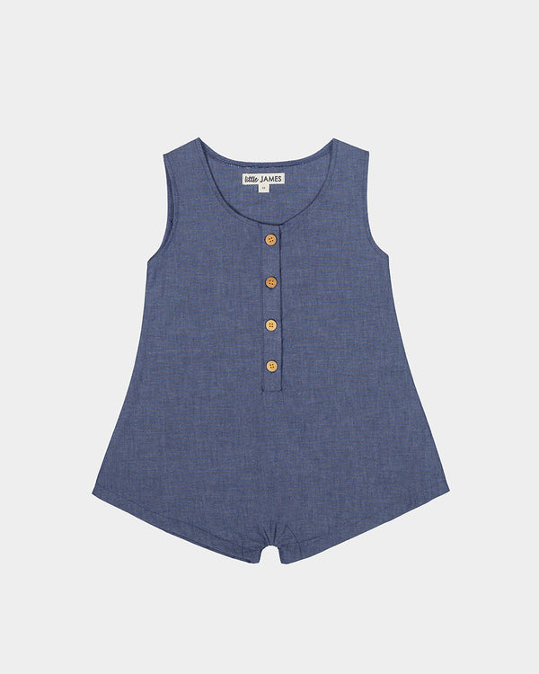 BAREFOOT BUTTON ROMPER - CHAMBRAY