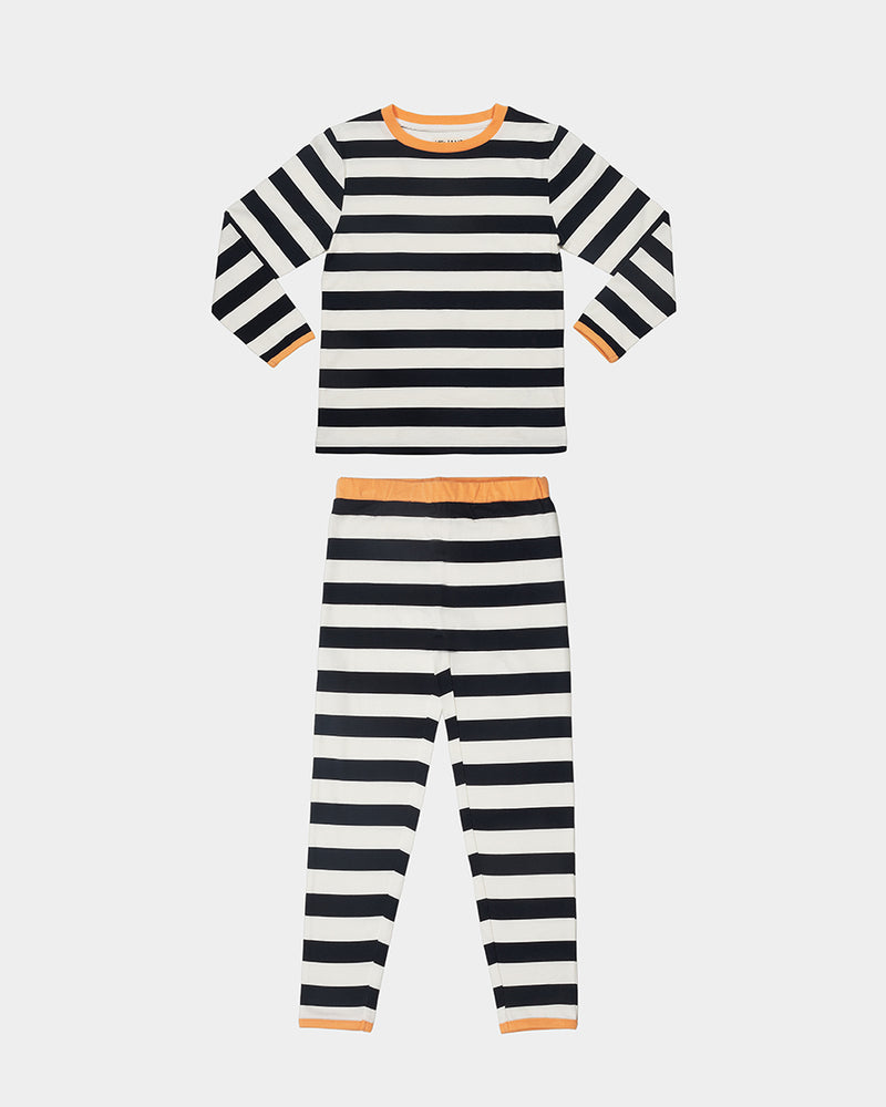 HALLOWEEN PAJAMA SET - BLACK + WHITE STRIPE