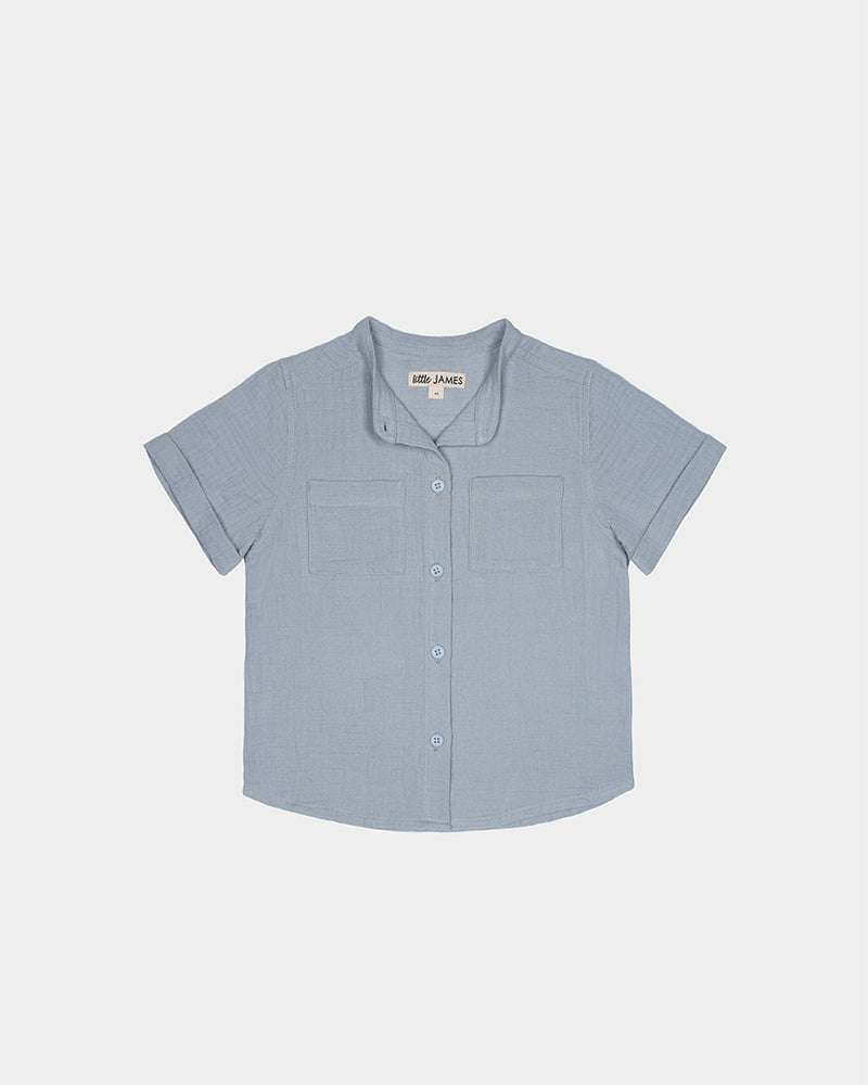 CABANA BUTTON UP - BLUE GREY