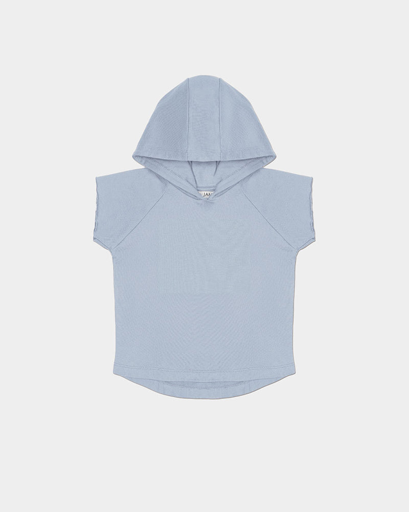 COASTAL CUT OFF HOODIE - BLUE GREY