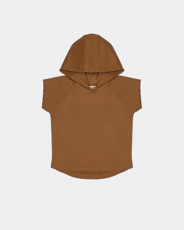 COASTAL CUT OFF HOODIE - BROWN