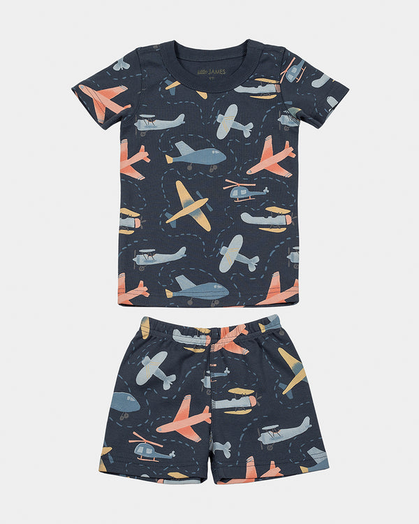 short-sleeve pajamas - airplanes
