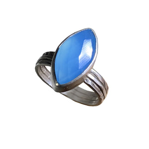 Faceted Blue Chalcedony Marquis in Sterling Bezel