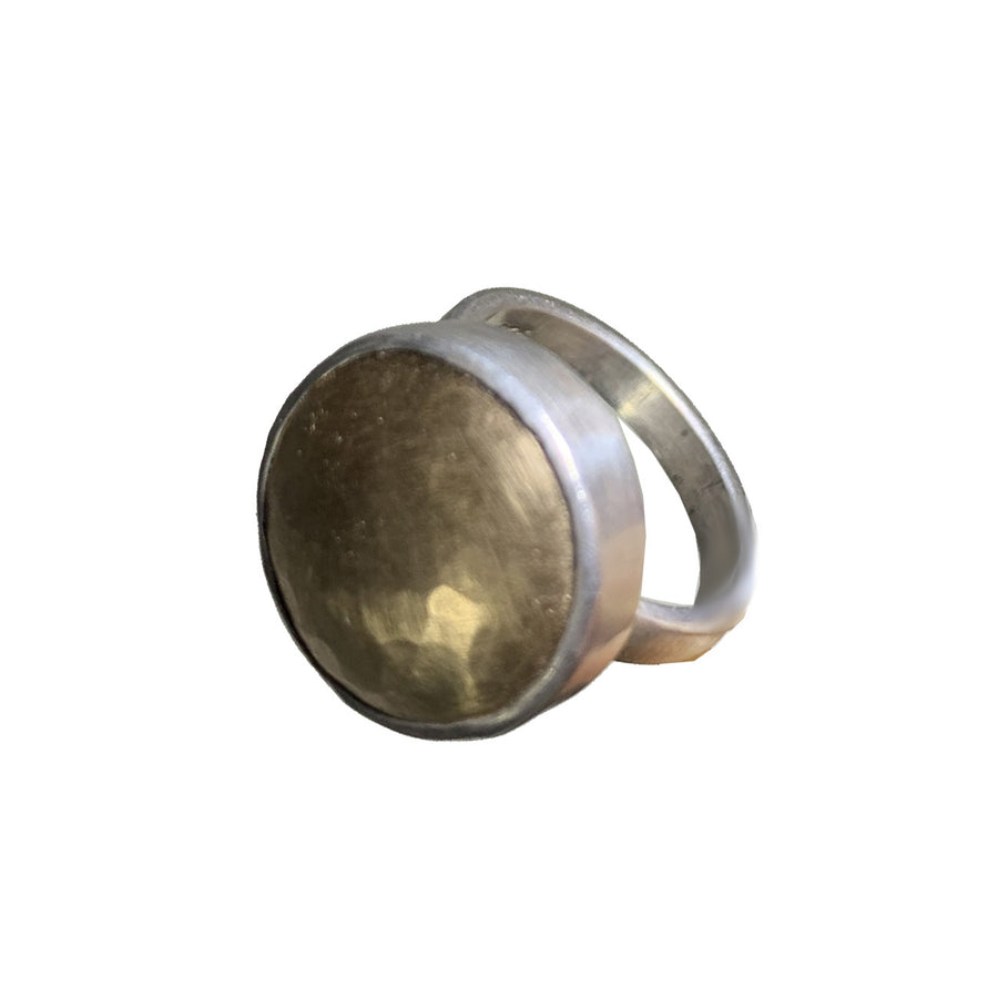 Hammered Goldfill Domed Bezel Set Ring