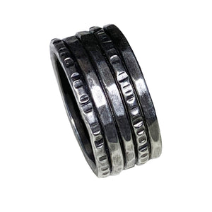 Hammered and Etched Oxidized Thick Sterling Band