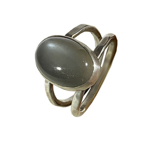 Silver Bezel Labradorite Double Band Ring