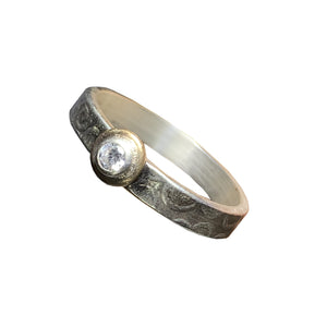 Sterling Silver Band with 14kt Goldfill and 3mm CZ