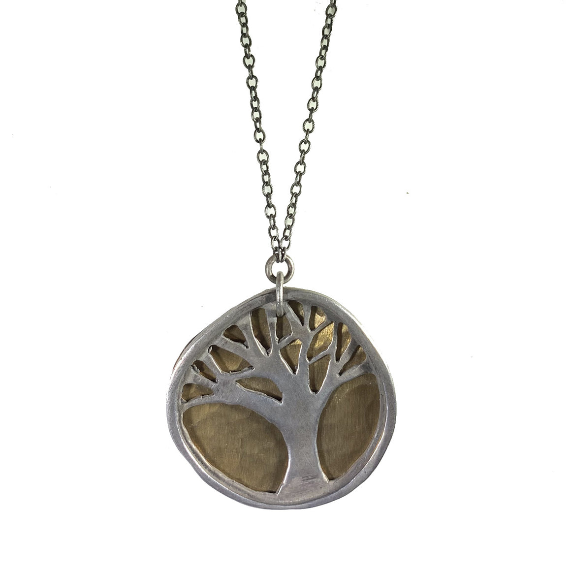 Sterling Oak Tree with Hammered Brass Necklace