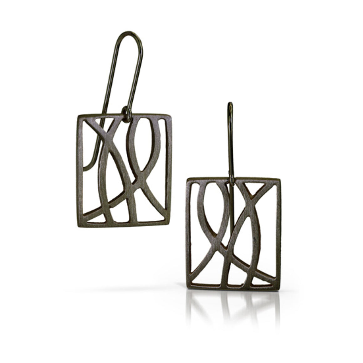 Path Earrings in Oxidized Silver Finish
