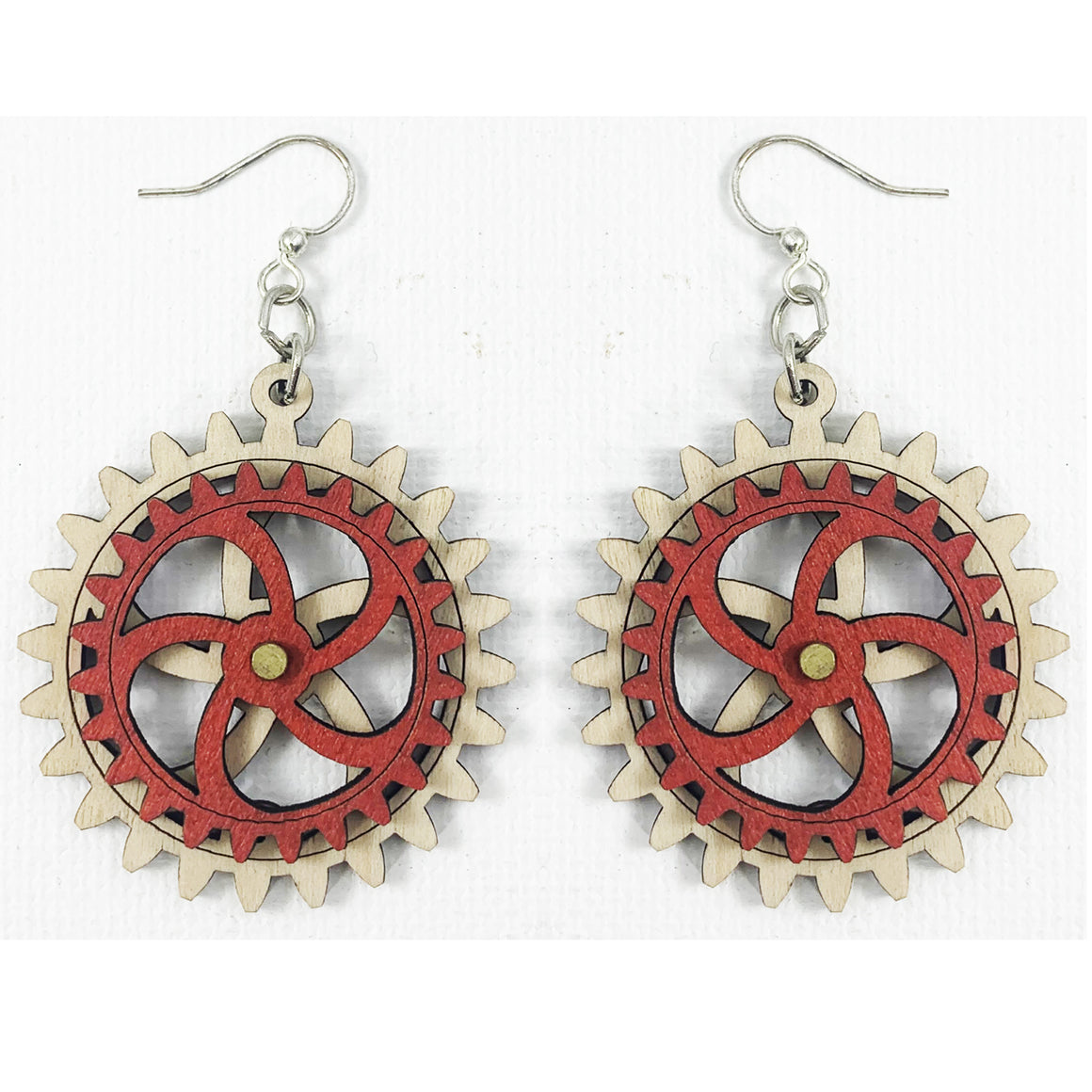 Red Wooden Gear Earrings