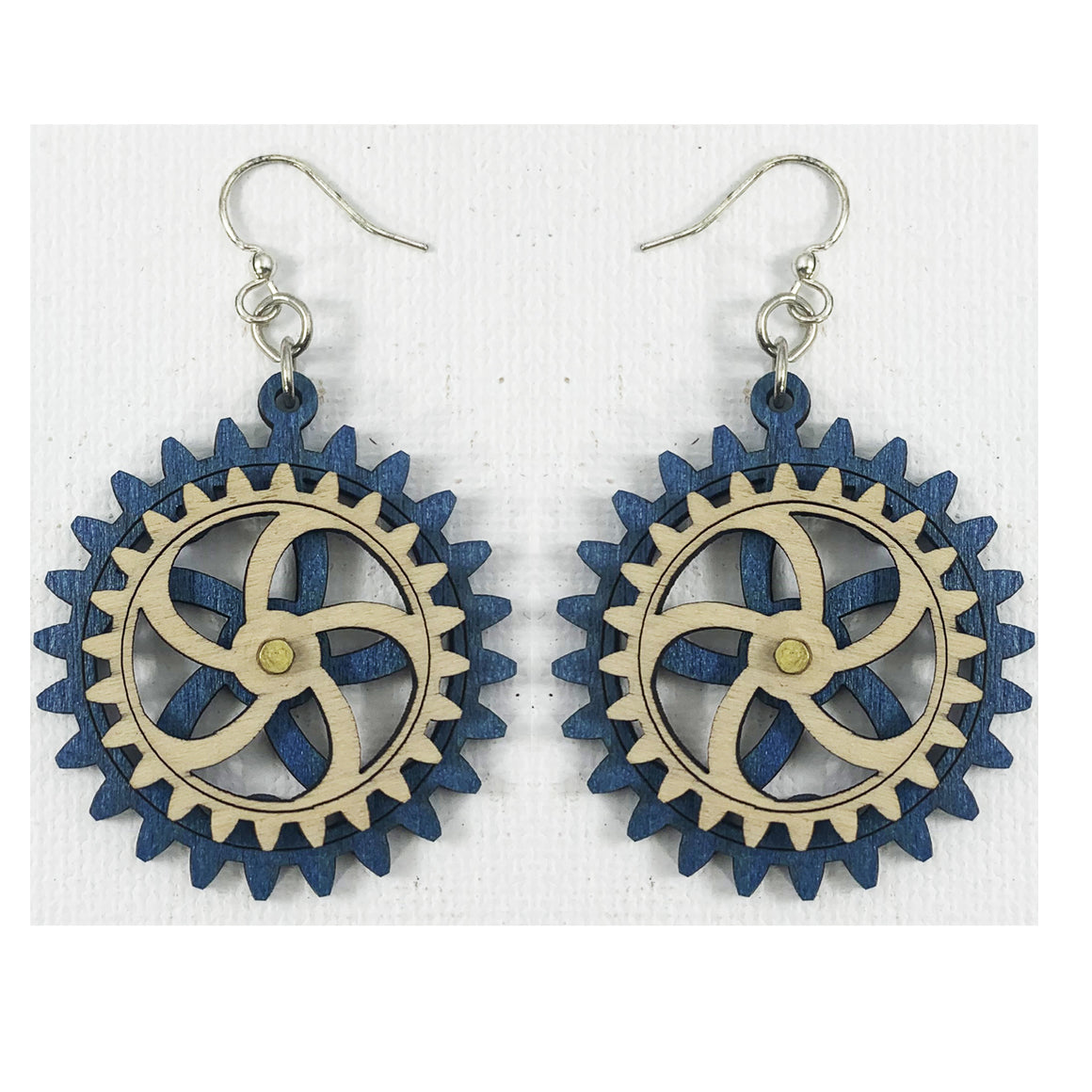Blue Wooden Gear Earrings