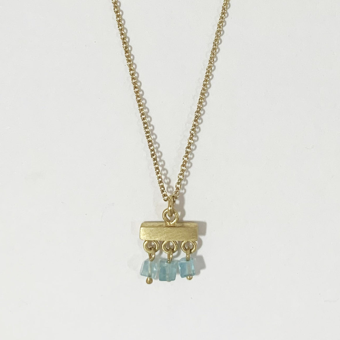 Single Tier Pendant w/Spinel Aqua bBeads in 14k Vermeil Finish