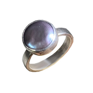 Sterling Silver Coin Pearl Ring
