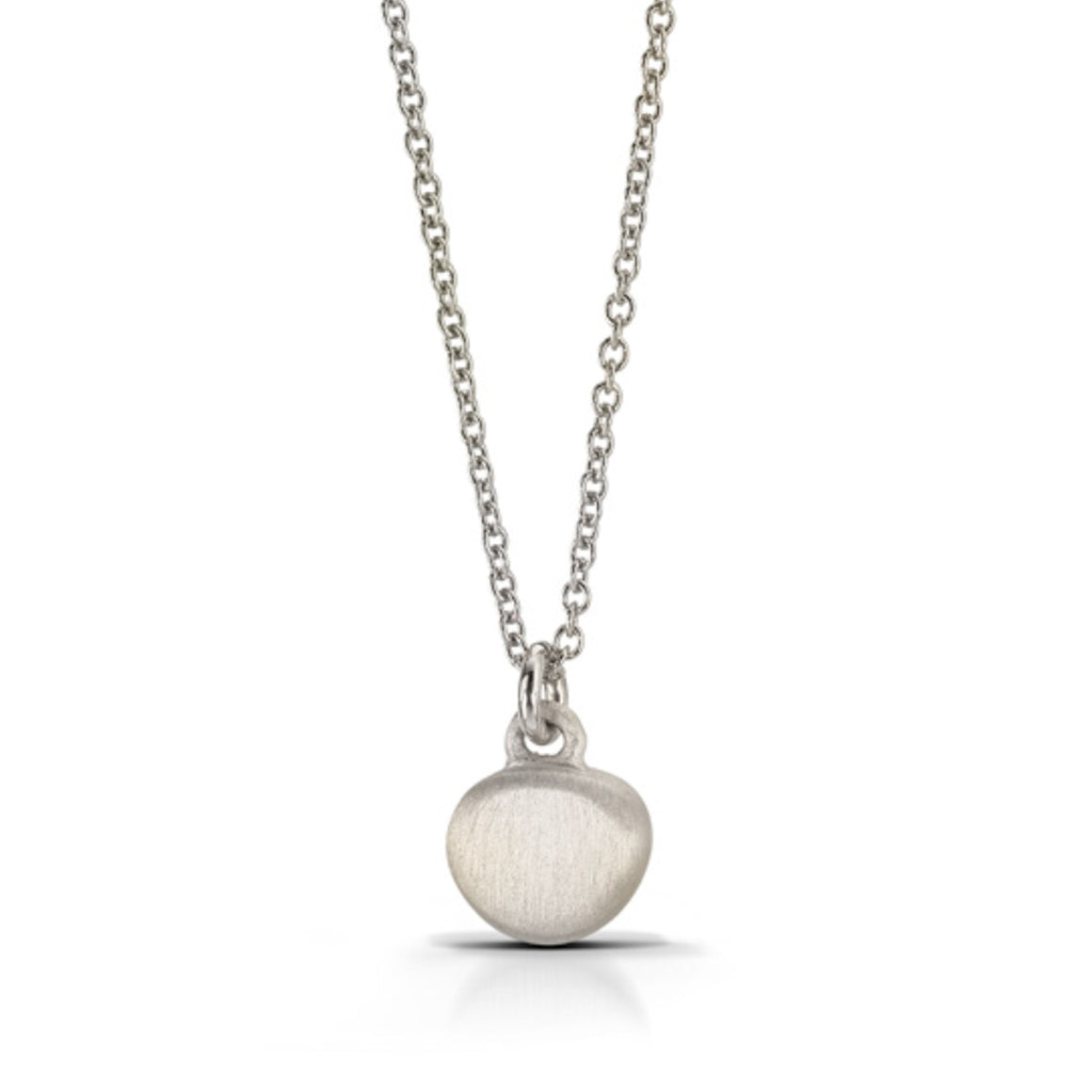 Silver Pebble Pendant Necklace with shadow finish