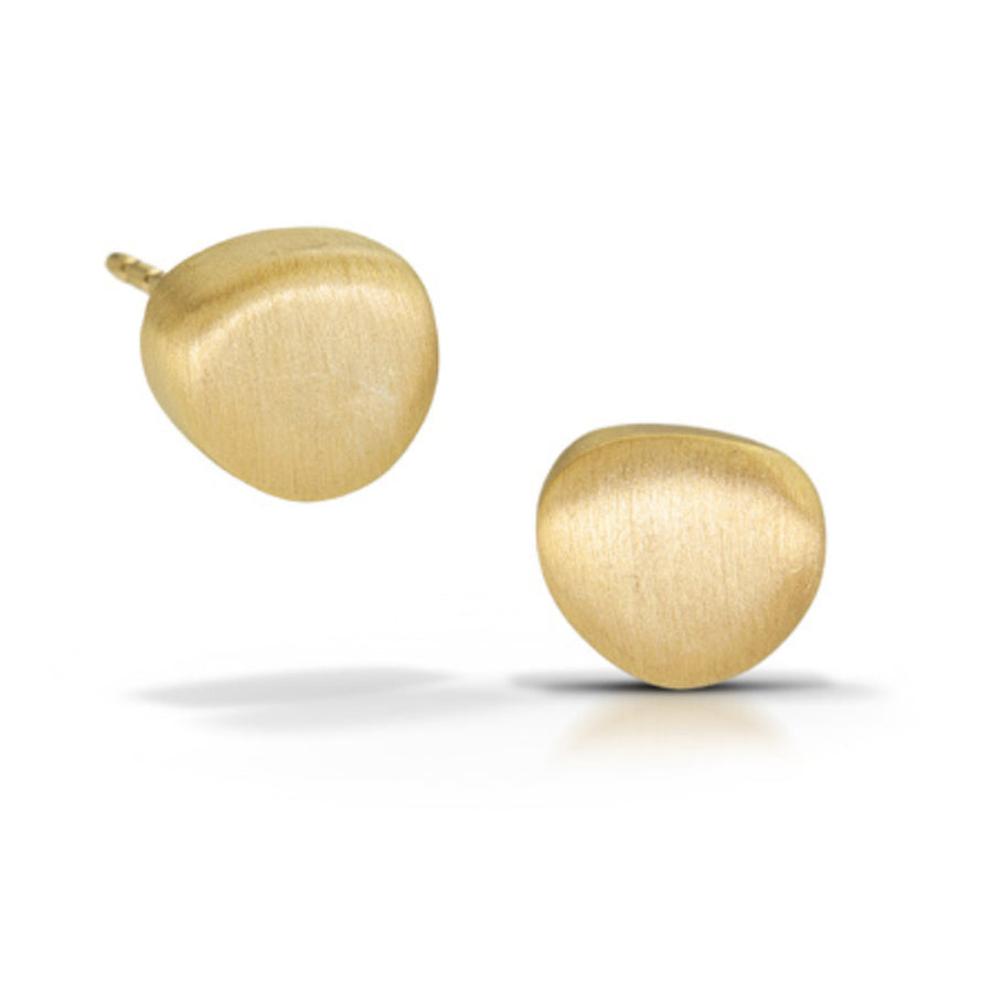 Baby pebble Posts with 14k Matte Gold Vermeil