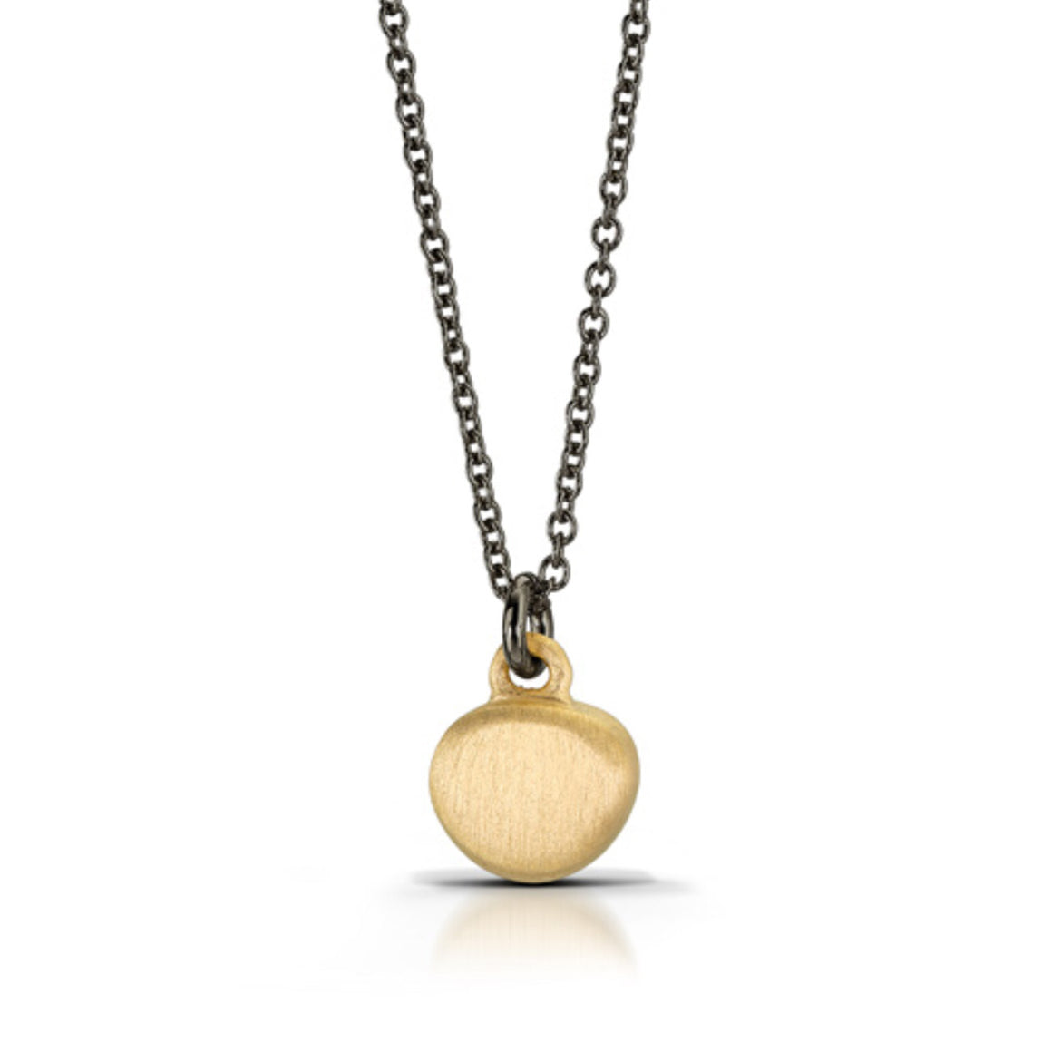 Baby Pebble Pendant in 14k Vermeil Finish and Oxidized Silver Chain