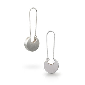 Circle Bud Hoop Earrings in Sterling Silver Finish