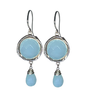 Aqua Chalcedony and Sterling Drop Earrings