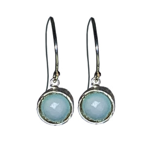 Aqua Chalcedony and Sterling Pixie Earrings