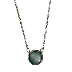 Aqua Chalcedony and Sterling Pixie Necklace