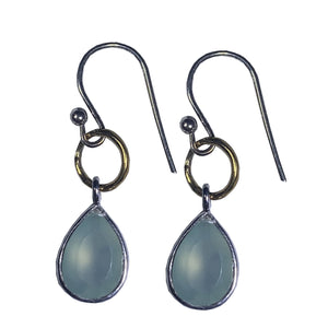 Blue Chalcedony Bezel Teardrop Earrings