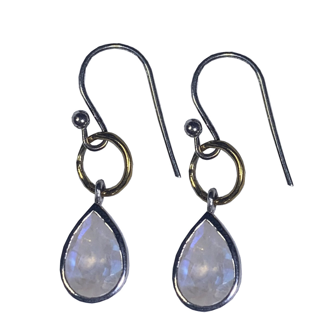 Moonstone Bezel Teardrop Earrings