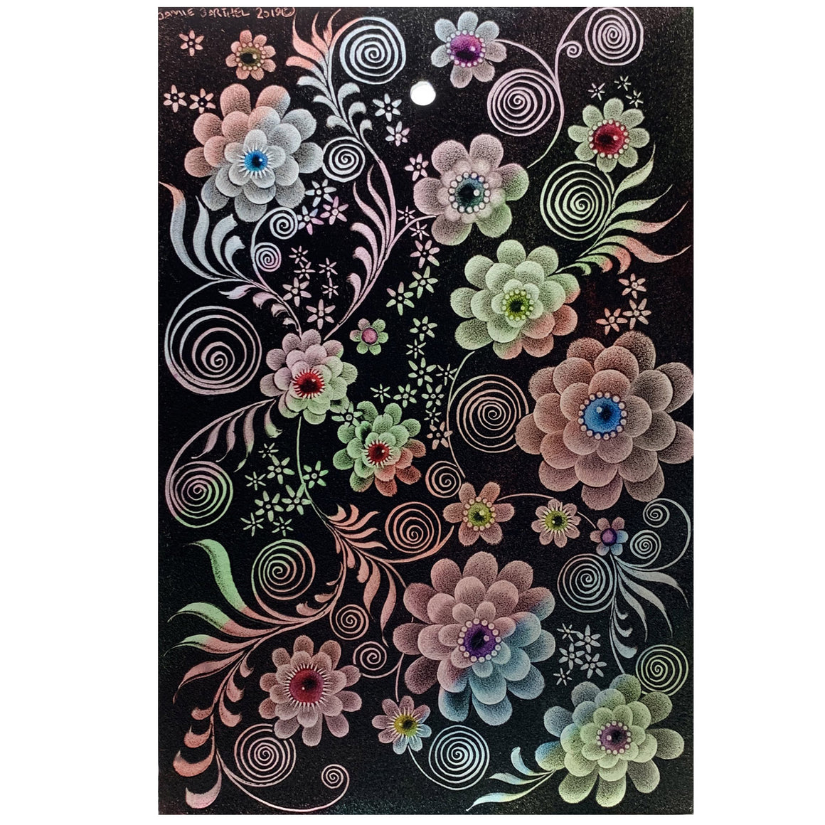"Black Floral 9"" x 6"" Window Hanging"