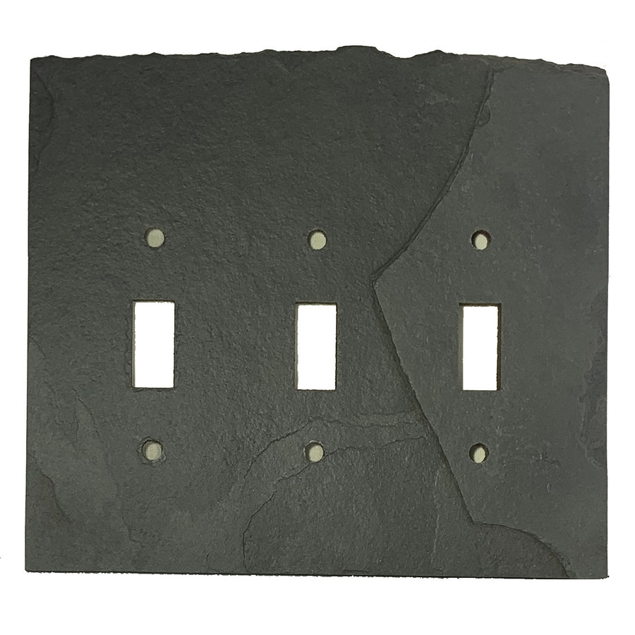 Blank Face Ebony Antiqued Stone Switch Plate