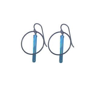Small Blue Ocean Pendulum Hoops Earrings