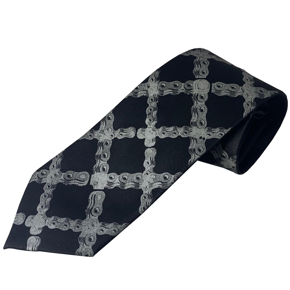 Bike Chain Neck Tie Tartan Dove Grey Ink on Black