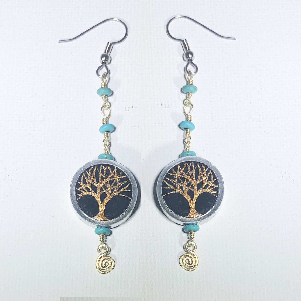 Hand Painted Copper Trees Earrings