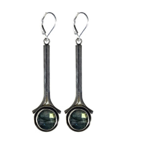 Hammered Sterling Drop Earrings with Labradorite