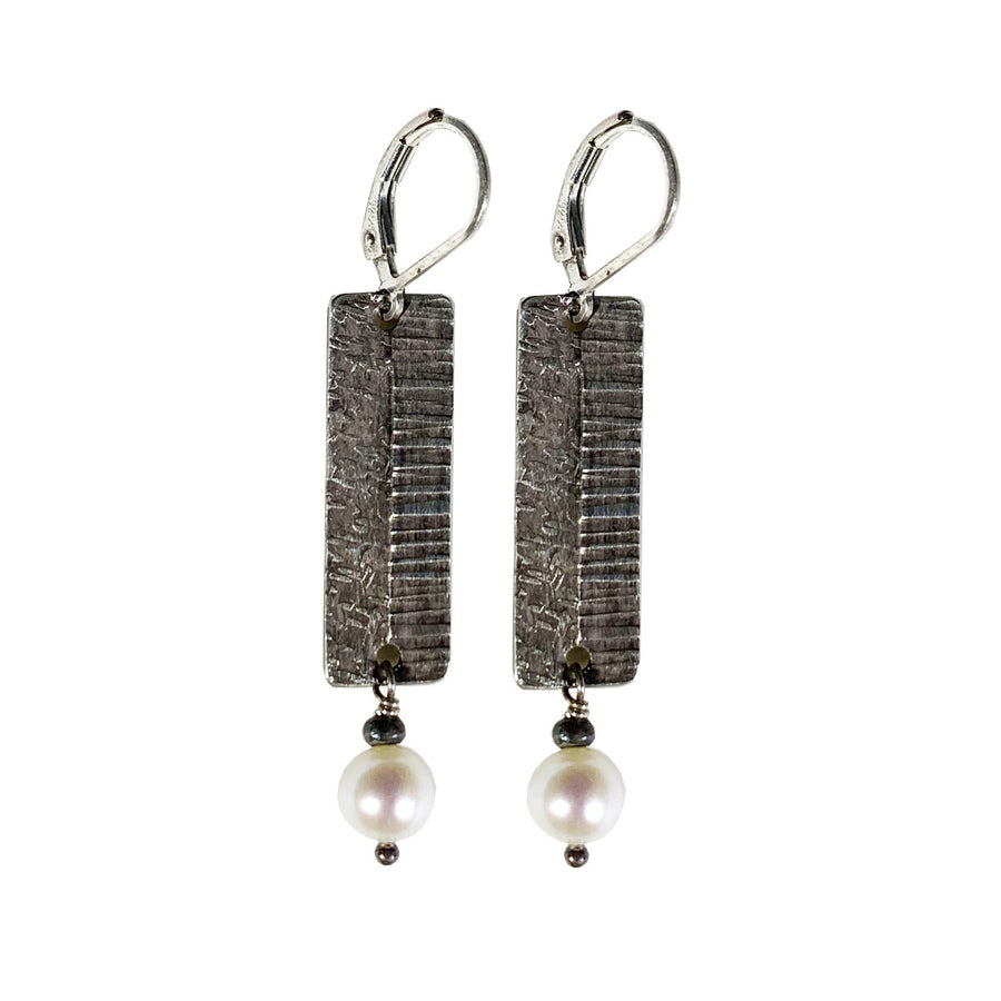 Etched Textured  Drop Earrings With Pearls