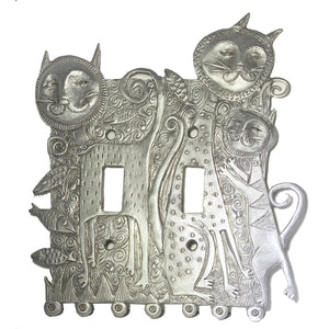 Double Cat Family Switch Plate