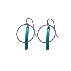 Small Emerald Pendulum Hoops Earrings